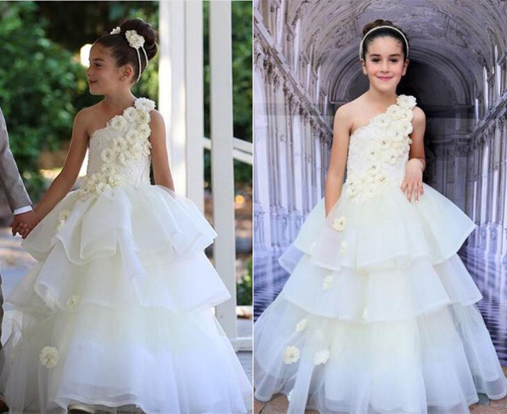 Vintage Little bridesmaid white/ivory one shoulder lace flower girl dresses tiered ball gown junior kids first communion dress white ivory girls first communion dresses ball gown lace with sash long junior flower girl dress for wedding custom any size
