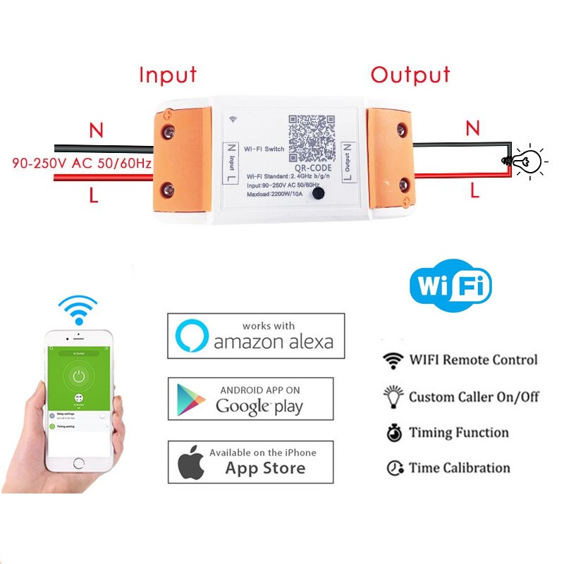 WiFi Smart Switch Wireless Remote Control 110V 220V Light Tis