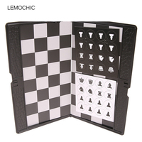 LEMOCHIC Mini Pocket International Chess Set Board Magnetic Portable Checkers Set Traveler Plane Easy To Carry