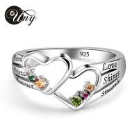 UNY Ring Custom Heart Mothers Rings Double Heart 925 Silver Personalized Birthstone Ring Family Heirloom Engrave Women Love Ring