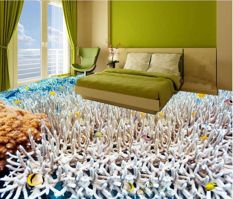 vinyl floor tiles Ocean white coral tropical fish wallpaper embossed pvc floor vinyl waterproof wallpaper