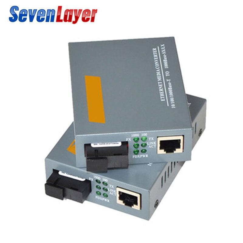 Гигабитный волоконно-оптический медиаконвертер HTB-GS-03 одномодовый одиночный оптоволоконный SC порт внешний источник питания 10/100/1000 м