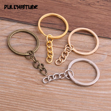 10pcs Key Ring Key Chain 4 Colors Plated 25mm Long Round Split Keychain Keyrings Wholesale