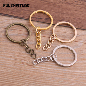 Image 1 -  10pcs Key Ring Key Chain 4 Colors Plated 25mm Long Round Split Keychain Keyrings Wholesale