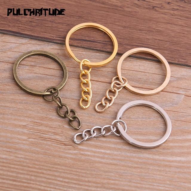 Porte clés, 10 pièces, 4 couleurs, plaqué, 25mm de Long, rond, fendu, vente en gros