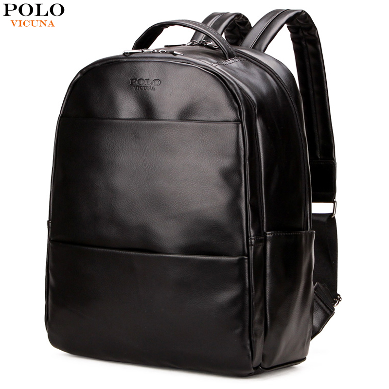 VICUNA POLO Men Leather Backpack Preppy Style Casual Simple Solid Black Travel Back Pack Waterproof Mens School Backpack For Boy casual waterproof simple men backpack