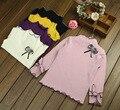 Детская Одежда Оборками Ребенка Бантом Принцесса Рубашки Девушки Хлопок Блузка Осень Одежда С Шар Шерсть Рубашки Девушки Топы