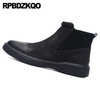 Осень 2018, высококачественные мужские зимние ботинки на молнии, теплые осенние ботильоны, роскошные короткие черные ботинки на меху, натурал...