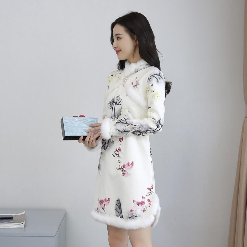 2019 ฤดูใบไม้ร่วงและฤดูหนาว lamb ขนสัตว์และขนสัตว์หนา qipao,จีนแห่งชาติลมกำมะหยี่ qipao-ใน ชุดเดรส จาก เสื้อผ้าสตรี บน   2