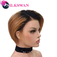 Silkswan short pixie cut wigs brazilian human remy hair customized lace front wig 1b/27 for black women side part