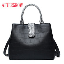2019 NEW Women Handbag High-Quality Snakeskin Pattern Famous Brand Ladies Designer Classic Simple Bag PU Leather Female Tote Bag все цены