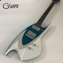 Envío gratuito novedad guitarra eléctrica modelo JBD 400; color azul metálico; incrustaciones de pin de tiburón; sintonizadores de bloqueo envío gratis