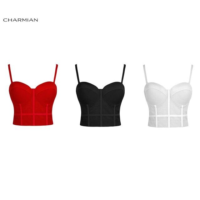 Charmian ผู้หญิงสีดำเซ็กซี่ดูผ่านตาข่ายสปาเก็ตตี้สายรัด Bustier Bra Corset Clubwear Crop Top