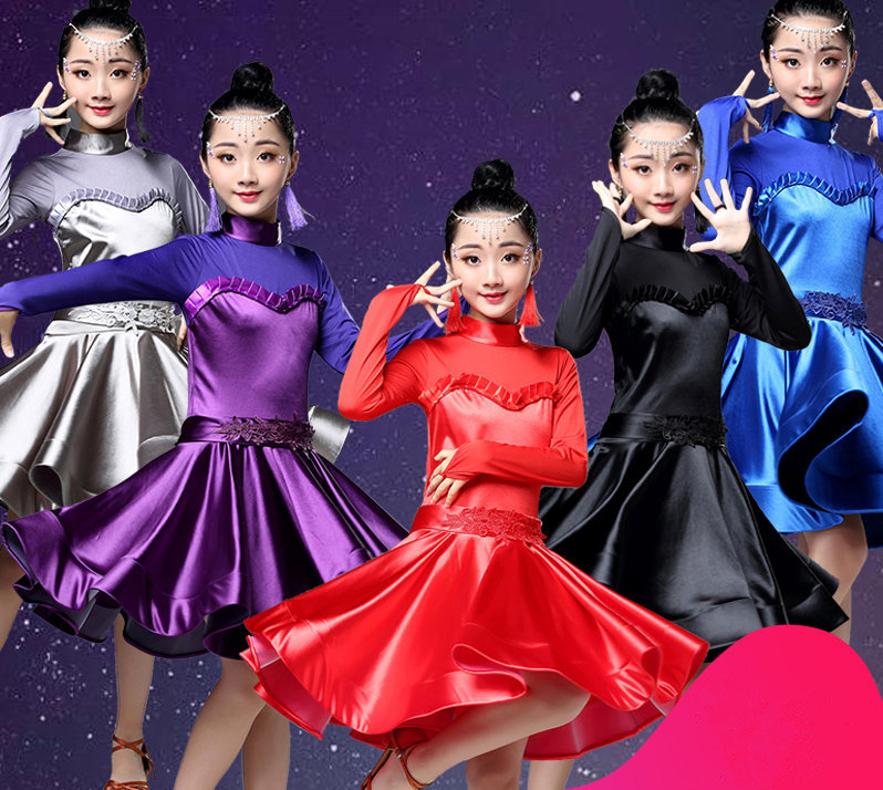 Children Long Sleeve Latin Dress Beautiful Latin Dance Dress For Girls Black/blue/ Dance Girls-child-latin-dance-dresses