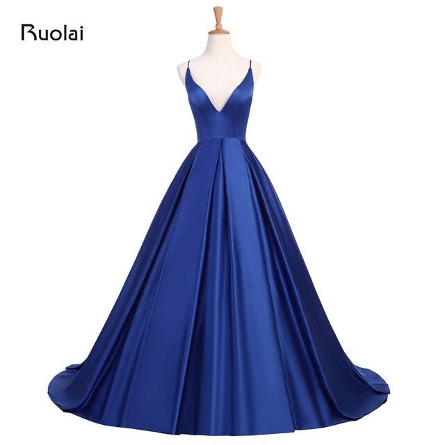 Multi Color Sexy Royal Blue Prom Dress Long Evening Dresses  V-Neck Satin Prom Party Dress Pleats Vestido de Fiesta RE7