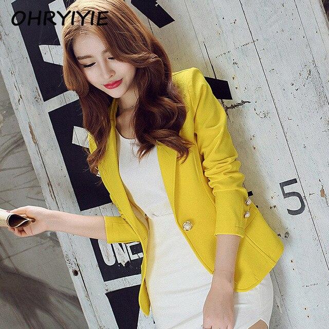 OHRYIYIE зеленый/желтый женские блейзеры на одной пуговице 2018 весна осень женские пиджаки Блейзер женские офисные Топы пальто