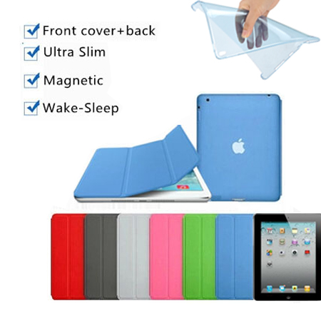 2 in 1 nice hard & soft tpu silicone back cover+3 fold leather smart case for ipad air 2 cover case magnetic slim thin flip skin