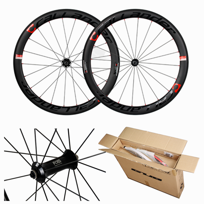 CALLANDER High quality cheap shipping carbon wheel 1 pair of 50mm clincher carbon wheelset full carbon road bike wheels