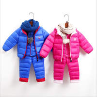 Children Set Girls Winter Clothing Suits With Hood Down Jackets + Pants Waterproof Hot Thickness Tracksuts Kids Clothes 2 10y