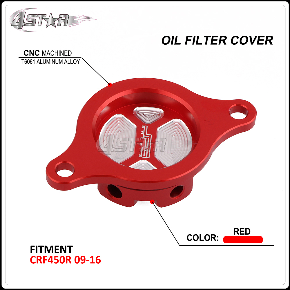 CNC Billet Red Aluminum Oil Filter Cover Cap For HONDA <font><b>CRF450R</b></font> CRF 450R CRF450 R 2009 2010 2011 2012 2013 2014 2015 <font><b>2016</b></font> image