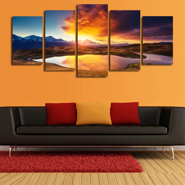 Fallout Cuadros Decoracion 5 Pcs(no Frame) Colorful Clouds Landscape Print Painting On Canvas Wall Art Home Decor Living Room