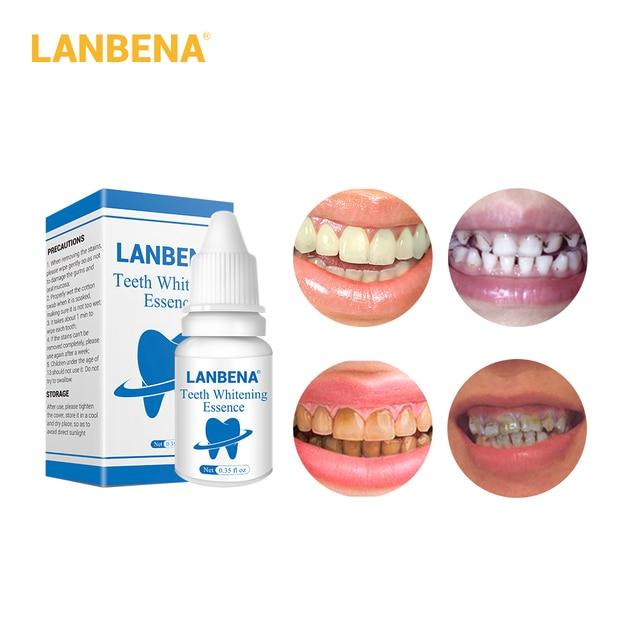 LANBENA los dientes la esencia de blanqueamiento en polvo de blanqueamiento suero elimina la placa Manchas diente blanqueador Dental herramientas de pasta de dientes