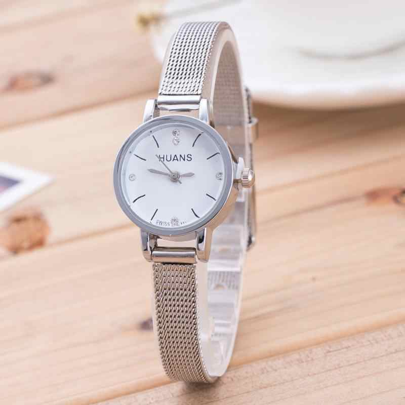 f8aeac88c60 Women Ladies Silver Stainless Steel Mesh Band Wrist Watch Fashion Women  Watches Fashion Casual Women Dress