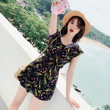 2019 Sexy New Arrival Women Swimsuit Black Print Two Piece Suits Fashion Halter Swimwear Summer Ruffle Backless Swimming Suit stylish flower hit color halter backless two piece swimsuit for women