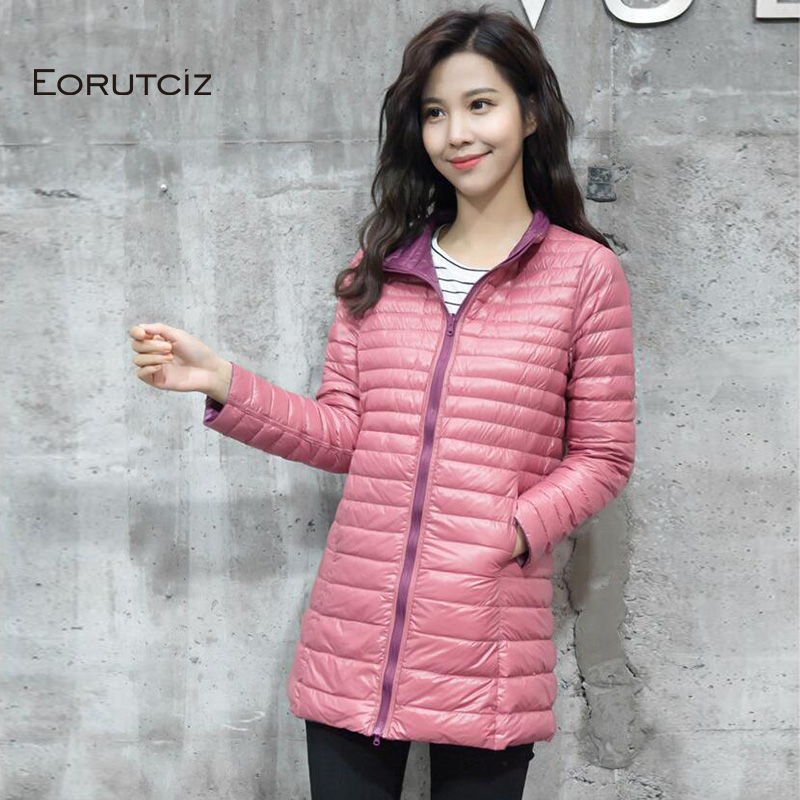 EORUTCI Winter Plus Size 4XL   Down     Coat   Women Long Ultra Light Jacket Slim Warm Vintage Black Autumn Duck   Down     Coat   LM170