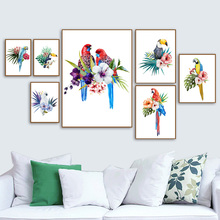 Watercolor Parrot Toucan Flower Wall Art Canvas Painting Nordic Poster And Print Animal Pictures For Living Room Home Decor