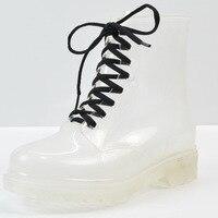 Прозрачная обувь; непромокаемые сапоги; женская обувь; женские прозрачные сапоги на плоской подошве; Женская водонепроницаемая обувь; Botas ...