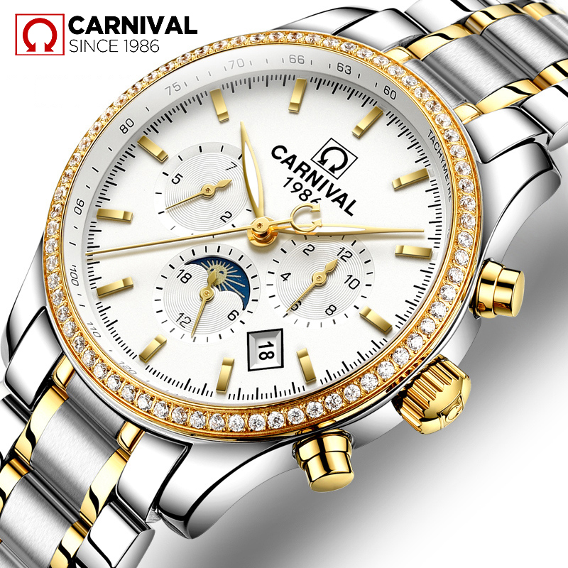 CARNIVAL New Business Mens Mechanical Watches Waterproof Genuine Stainless steel Brand Luxury Automatic Wristwatch Clock RelogioCARNIVAL New Business Mens Mechanical Watches Waterproof Genuine Stainless steel Brand Luxury Automatic Wristwatch Clock Relogio