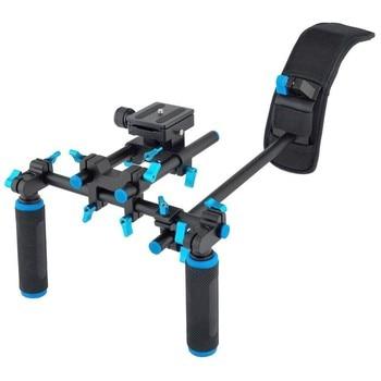 Aluminum Alloy Stablizer Video Shoulder Mount Support Rig for DSLR with Slider 15mm Rod Double-hand Handgrip Set C-shaped Holder