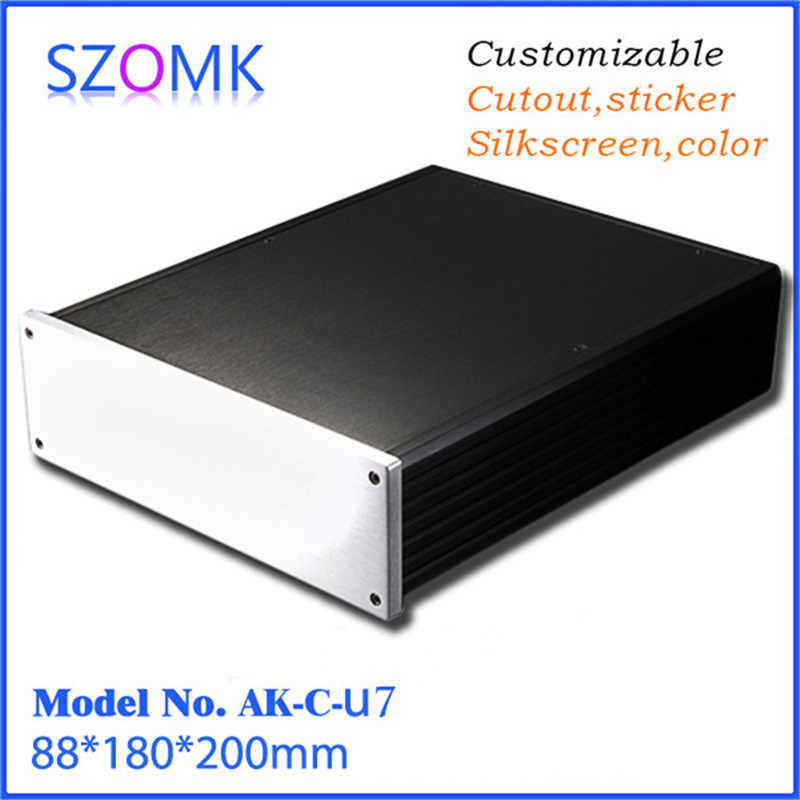 szomk black aluminum electronics enclosure for pcb extruded instrument enclosure (1 pcs) 88*180*200mm 1 piece free shipping anodizing aluminium extruded enclosure for electronics with rubber ring 25x58x85mm