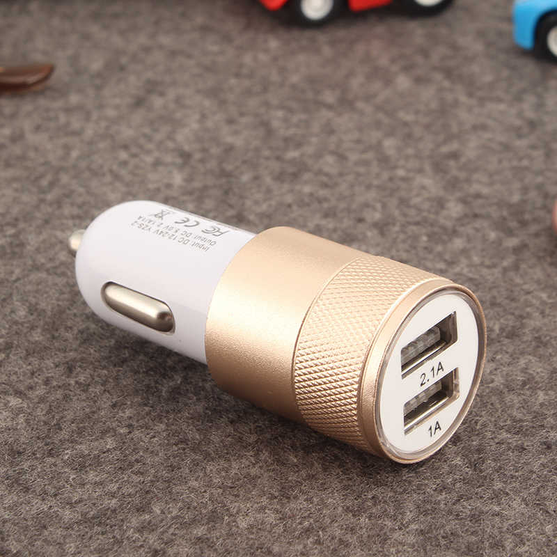 Universal Dual USB Car Charger Adapter Metal Flat Mobile Phone Universal Charging 2.1V Small Steel Cannon Car Charger