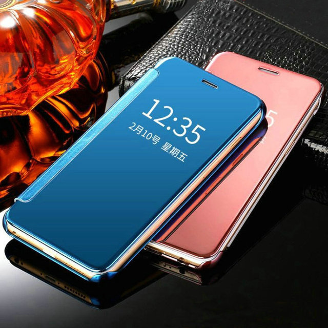 clear view window smart cover for samsung galaxy s8 plus s6 s7 s7 edge iphone x 8 7 mirror flip. Black Bedroom Furniture Sets. Home Design Ideas