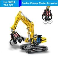 DIY 720pcs Two Modes Compatible Legoing Technic Excavator Model Building Blocks Brick Without Motors Set Kids Toys for Children