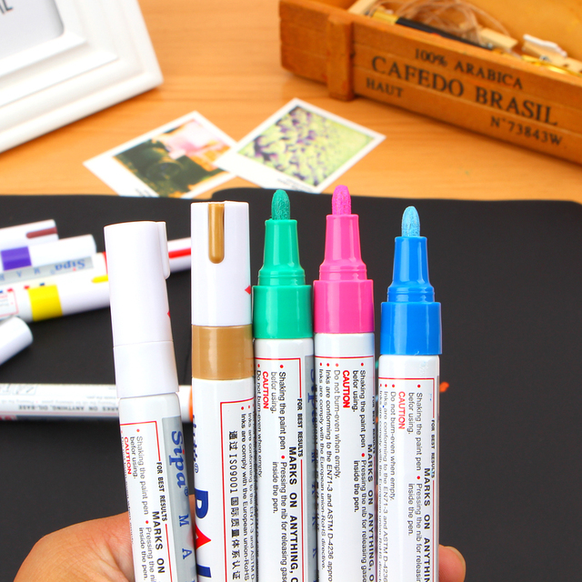 Permanent Marker White Oil Ink Mark Pens Stationery School Office Supplies Cd