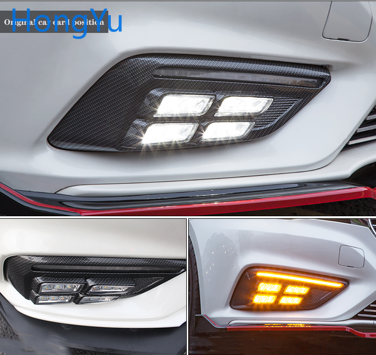 2PCS LED Daytime Running Light For MG <font><b>MG6</b></font> 2017 2018 <font><b>2019</b></font> White and Yellow Turn Signal Function 12V Car DRL Fog Lamp Decoration image