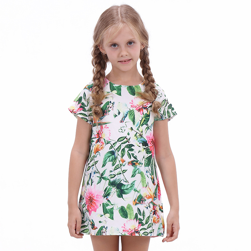Summer Dress for Infant Girl Clothes 2017 Fashion Printed Flower Princess Dress Sweet Short Sleeve Children Evening Party Dress