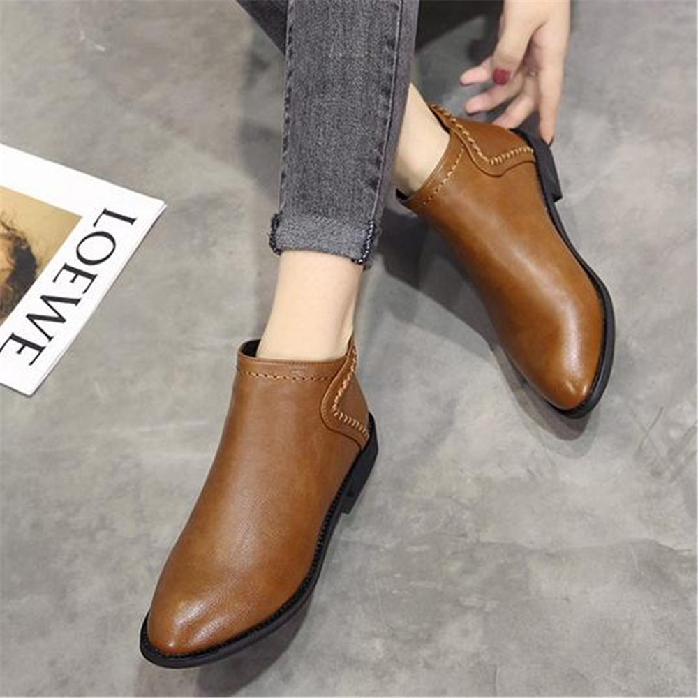 Spring and autumn ladies Martin boots British style low heel and ankle boots 2018 new retro Korean short bootsAnkle Boots   -
