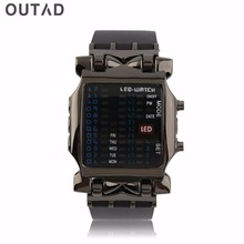 Outdoor Sport LED Digital Binary Watches Popular Square Dial Uisex  Rubber Band Casual Wrist Watch relogio цена 2017