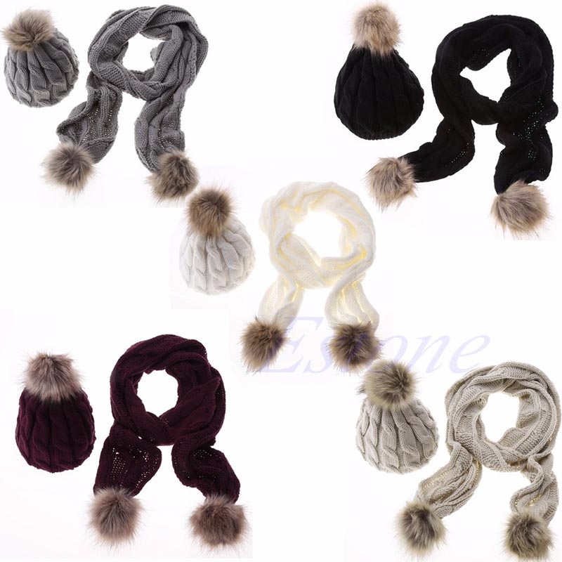 цены Winter Warm Women Fashion knitted Scarf and Hat Set Crochet Cap Beanie Ski Hat