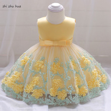 Girls Clothes Dress Mesh Hook Flower Hem Baby Birthday Party Stage Show 1-3 Y Infant Quality Roupas Infantis 2019 Hot Sale