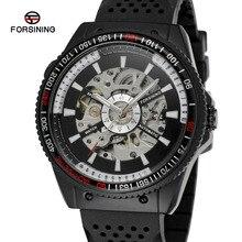 Forsining Мужские Часы Новый Дизайн Скелет Автоматическое Движение Силиконовой Лентой Аналоговый Марка Наручные Часы Цвет Черный FSG8029M3B67