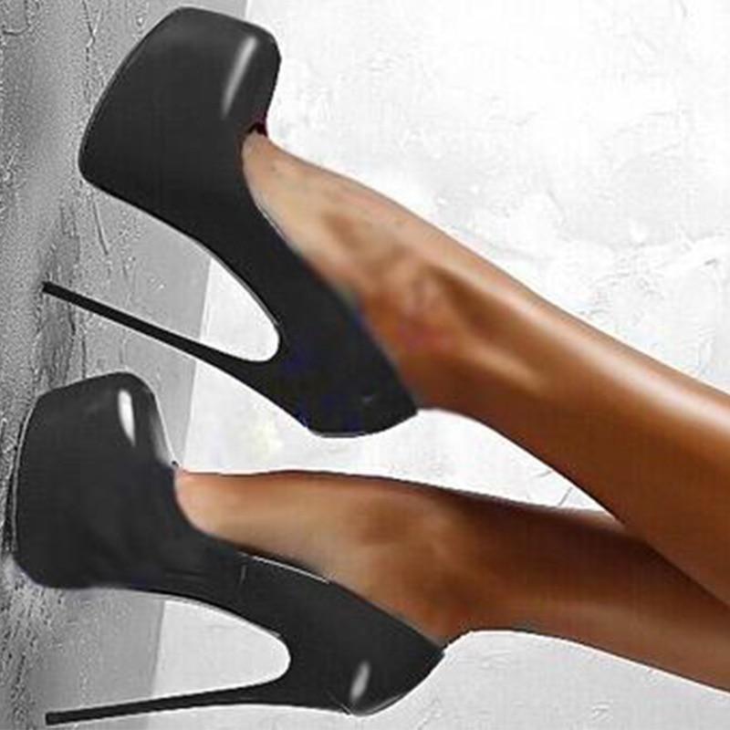 Sapatos femininos de salto alto, sapatos sensuais da primavera/verão para mulheres, fetish, dedo redondo, plataforma, salto alto, 16 cm, preto e vermelho