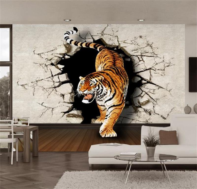 3d photo wallpaper custom livingroom non-woven mural tiger down out of wall painting 3d mural wallpaper room decoration painting 3d wallpaper custom mural non woven wall sticker black and white wood road snow tv setting wall painting photo wallpaper for 3d