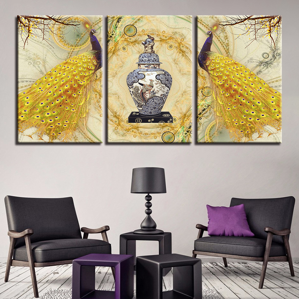 HD Printed Pictures Living Room Wall Art Frame 3 Pieces Golden ...