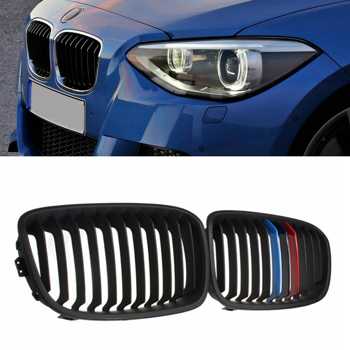 Pair M-Color Gloss/Matte Black Kidney Grille Grill For BMW F20 F21 1-SERIES 2011-ONWARDS 1 pair gloss black m color front bumper center kidney grilles for bmw x3 f25 2011 2012 2013 2014 racing grills