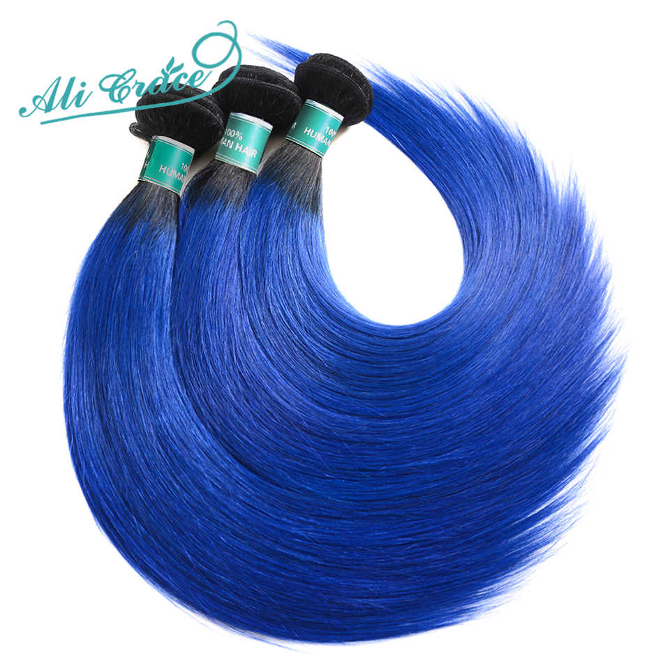 Ali Grace Hair Ombre Bundles With Closure 1B/ Blue Two Tone Remy Human Hair Brazilian Straight Hair 3 Bundles Pack With Closure